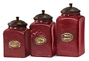 Deep Red Canister Sets for Kitchens