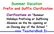 Rc.815 Summer Vacation Prefix and Suffix Clarifications