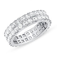 ASSCHER CUT DIAMOND 2 ROW FULL ETERNITY BAND