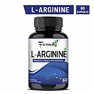 Farmity L Arginine 500mg - Essential Amino Acid, Pre-Workout Supplement, Dietary Supplement, Nitric Oxide Booster- 60...