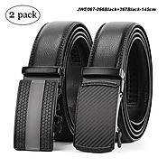 "WERFORU 2 Pack Leather Ratchet Dress Belt for Men Perfect Fit Waist Size Up to 44"" with Automatic Buckle"