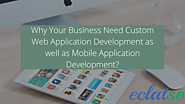 Why Your Business Need Custom Web & Mobile Application Development?