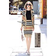 Burberry Check Dress Outfit In Brown Outlet Burberry Cheap Sale Store