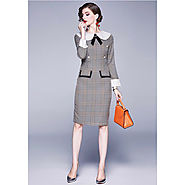 Burberry Check Dress In Grey