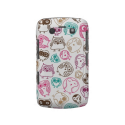 Cute colorful owl pattern in pink and blue blackberry case from Zazzle.com