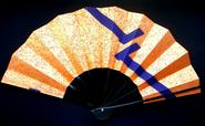 Japanese Dance Fan Mai Ogi Gold Orange Purple F193