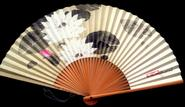 Japanese Hand Fan Lotus Flower in White, Pink and Moss Green F176