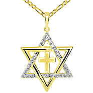 14k Yellow Gold CZ Star of David with Religious Cross Judeo Christian Pendant Figaro Necklace