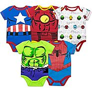 Marvel Baby Boys' 5 Pack Bodysuits – The Hulk, Spiderman, Iron Man and Captain America