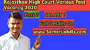 Rajasthan High Court Various Post Vacancy 2020