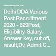 Delhi DDA Various Post Recruitment 2020