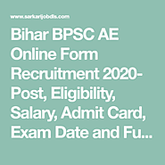 Bihar BPSC AE Online Form Recruitment 2020