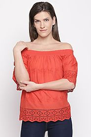 Bare Denim Women Embroidered Deep Red Top - Selling Fast at Pantaloons.com