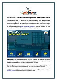 What Should I Consider Before Hiring Packers and Movers in India?