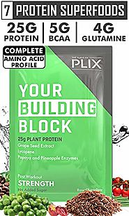 Plix STRENGTH, Plant Protein, Post Workout Vegan Protein, 25G Protein, Raw Chocolate Flavour, Antioxidants, Digestive...