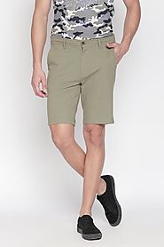 Byford Men Solid Olive Shorts - Selling Fast at Pantaloons.com