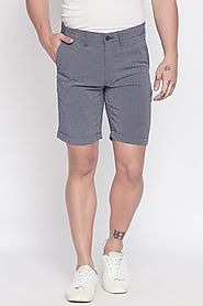 Byford Men Solid Eclipse Navy Shorts - Selling Fast at Pantaloons.com