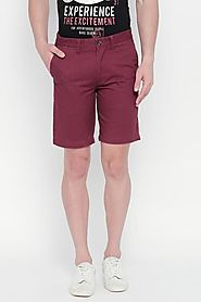 Byford Men Solid Cotton Casual Maroon Shorts - Selling Fast at Pantaloons.com