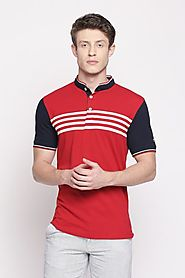 Byford Men Stripe Red T Shirt - Selling Fast at Pantaloons.com
