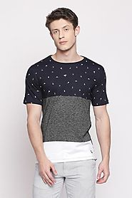 Urban Ranger Men Cut & Sew Navy T Shirt - Selling Fast at Pantaloons.com
