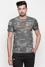 Ajile Men Printed Grey T Shirt - Selling Fast at Pantaloons.com