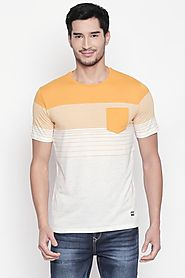 Urban Ranger Men Stripe Yellow T Shirt - Selling Fast at Pantaloons.com