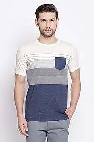 Urban Ranger Men Stripe Navy T Shirt - Selling Fast at Pantaloons.com