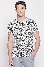 Sf Jeans Men Printed White T Shirt - Selling Fast at Pantaloons.com