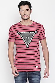 Sf Jeans Men Graphic Printed Wine T Shirt - Selling Fast at Pantaloons.com