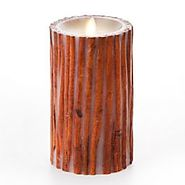Unscented Flameless Pillar Candle Embedded With Cinnamon Sticks 4 X 7 Inches