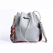 DAUNAVIA Women bag with Colorful Strap Bucket Bag Women PU Leather Shoulder Bags Brand Designer Ladies Crossbody mess...