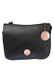 Buy CAPRESE Black Womens Metallic Lock Closure Sling Bag | Shoppers Stop