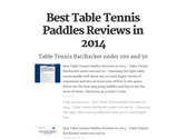 Best Table Tennis Paddles Reviews in 2014