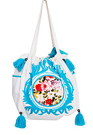 Sky Blue and White Cotton Tote Bag For Women