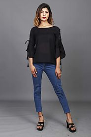 Black Top With Eyelets And Dori Bell Sleeves