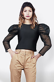 Black Puffed Net Sleeves Top