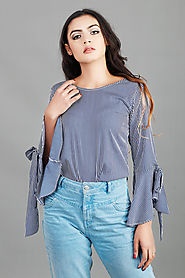 Blue Stripes Bell Sleeves Top