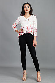 Pink White Printed Top