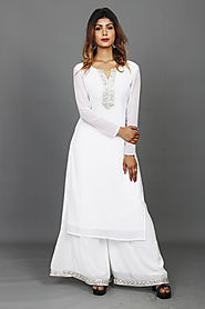 White Summer Special Party Kurta-Palazzo Set