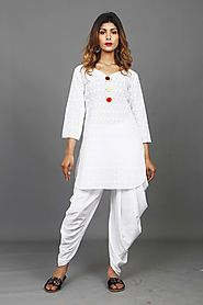 Chikan Work Summer Special Party Kurta Dhoti Set