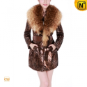Christmas Fur Trimmed Leather Coat CW682902 - CWMALLS.COM