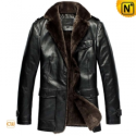 Black Christmas Fur Lined Leather Coat CW833337 - CWMALLS.COM