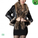 Christmas Fur Trim Leather Jacket CW694079 - M.CWMALLS.COM