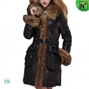 Christmas Fur Trim Leather Coat CW685048 - M.CWMALLS.COM