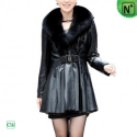 Christmas Fur Trim Leather Coat CW671012 - M.CWMALLS.COM