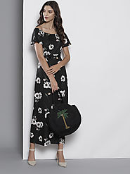 Buy DOROTHY PERKINS Women Black & Off White Floral Print Maxi Dress - Dresses for Women 10580318 | Myntra