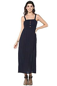 Buy MSTAKEN Navy Womens Spaghetti Neck Solid Calf Length Dress | Shoppers Stop