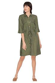 Buy LEE COOPER Olive Womens Collared Solid Shirt Dress | Shoppers Stop