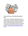 1 Hour Cash Loans- Avail Cash Help within 1 Hour