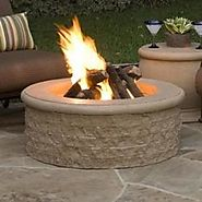Round Chiseled Cast Stone Fire Pit